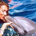 dolphin kissing girl