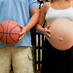 pregnant woman and man with basketball