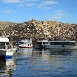 Excursion boats on Lake Titicaca at Puno, Peru.